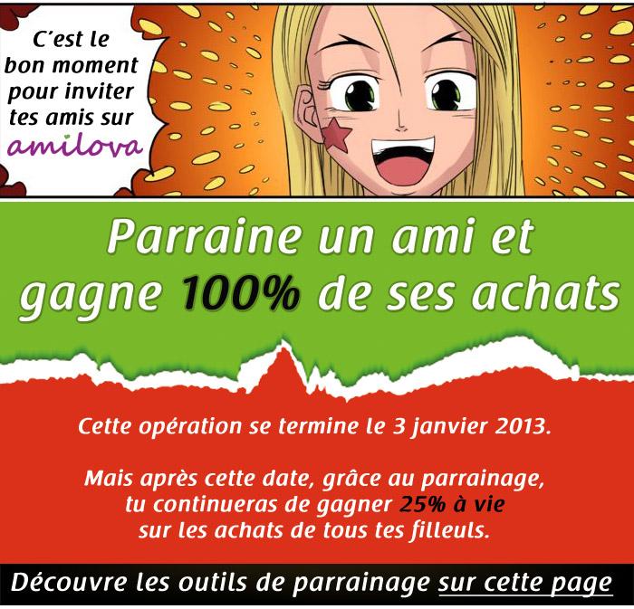 Promo de Noêl d'Amilova : 100% de cadeau sur le parrainage